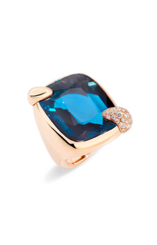 ANELLO IN ORO ROSA CON TOPAZIO BLU LONDON