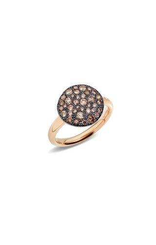 ANELLO SABBIA CON BRILLANTI BROWN